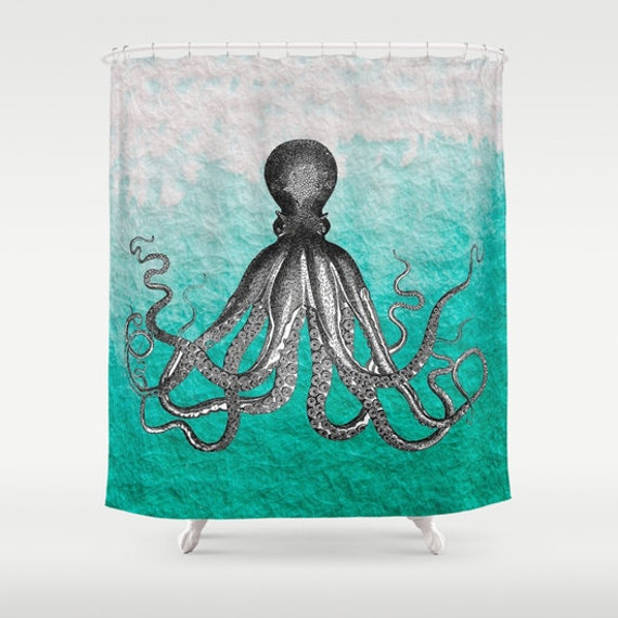 Octopus shower curtain antique kraken octopus sea monster Oddities home decor