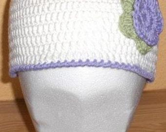 crochet flowerhat, crochet beanie, crochet hat, flowerhat