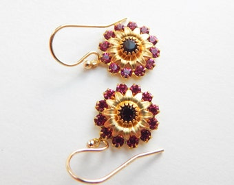 Vintage Swarovski Earrings,Swarovski Crystal Earrings,Earrings,Dangle & Drop Earrings,Purple Earrings,Vintage Earrings,Birthday for her