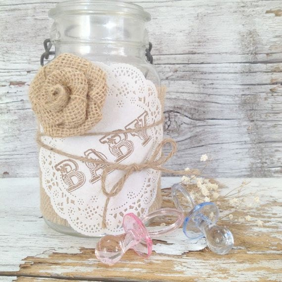 Items Similar To Vintage Baby Shower Decor For 5 Jars, Shabby Chic Baby Shower Centerpiece Kit