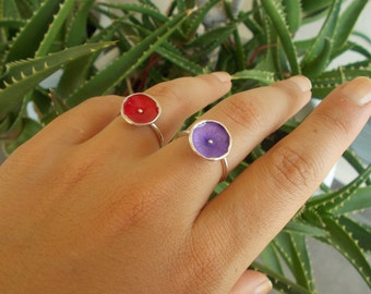 Sterling silver ring with colourful enamel