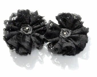 Set of 2 hair clips Black hair clips gothic hair pins, victorian pins, flower clips, black clips, wedding pins, black wedding hair clips