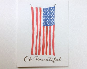 Oh Beautiful, Patriotic American Flag Note Cards