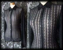 Gothic Black Sheer Lace ALICE'S ADORATION Fitted Blouse 12 14 Victorian Vintage