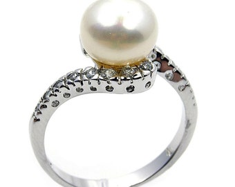 Snowball Pearl Ring CZ & .925 Sterling Silver Ring Size 8.75 Jewelry , Z78 The Siver Plaza