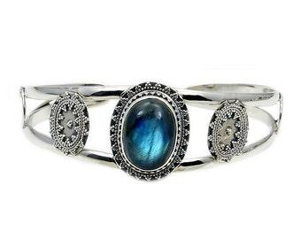 Labradorite & .925 Sterling Silver Cuff Bracelet , AD377