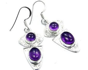Amethyst & .925 Sterling Silver Dangle Earrings ; T760