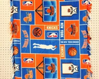 NY Knicks fleece fringed blanket for toddlers