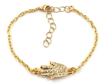 Gold plated hamsa hand bracelet - hand of fatima bracelet - armcandy - gold