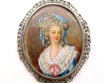 Antique Victorian PAINTED PORTRAIT PIN Pendant 800 Silver Filigree Framed Miniature Marie Antoinette Portrait Brooch Pendant