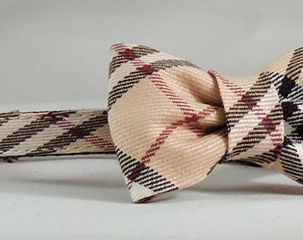 Cat Collar or Kitten Collar with Flower or Bow Tie  -  Ivory, Black and Red Plaid