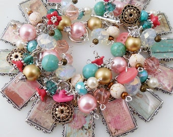 Shabby Chic Charm Bracelet/ Picture Charms/ Altered Art Charms/ Cha Cha Bracelet
