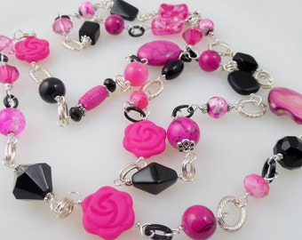 SALE Hot Pink and Black Long Bead Necklace/ Rose Bead Necklace