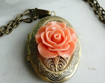 CLEARANCE 50% OFF Coral rose filigree locket Necklace