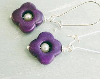 50% Off SALE Earrings, Purple stone quatrefoil and pearl dangle earrings.