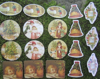 SALE 19 Vintage Victorian Paper Christmas Tags and Ornaments