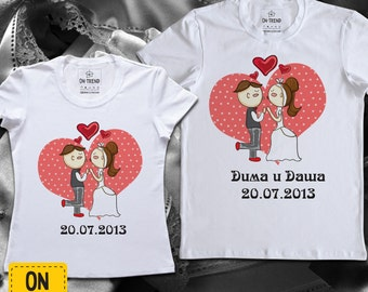 "Wedding T-shirts ""Bride and groom"""