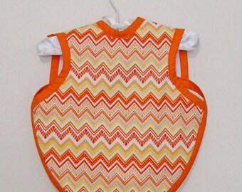 Orange & Yellow Chevron Bapron - Size 6-18 Months