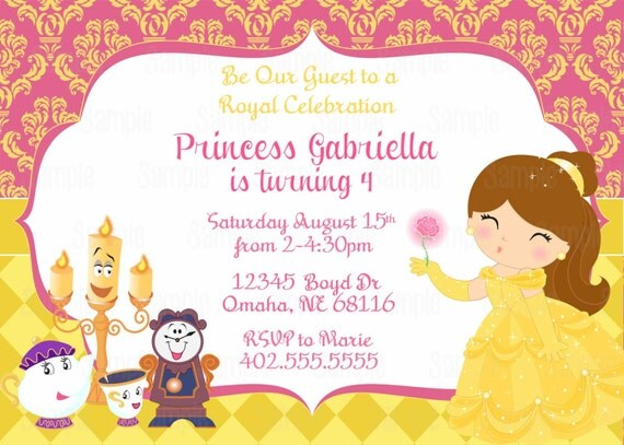 Princess belle printable birthday party invitations page two printable belle birthday party invitation plus free blank matching printable thank you card invitation thank you card birthday banner tent food cards filmwisefo Images