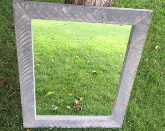 Rough Sawn Pine Mirror Frame - Rustic Mirror - Rough Sawn Mirror Frame with Mirror - Rustic Mirror Frame - Distressed Grey