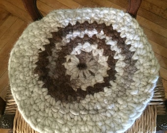 Crocheted Chair Pad Made From Llama