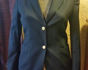 Vintage navy blue women's/ladies Brooks Brothers blazer, size 4, 100% wool.