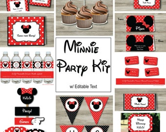 Minnie Mouse Party Kit With Editable Text, DIY Printable Minnie Mouse Party Kit, Printable Editable Minnie Mouse Party, Minnie Party PDF
