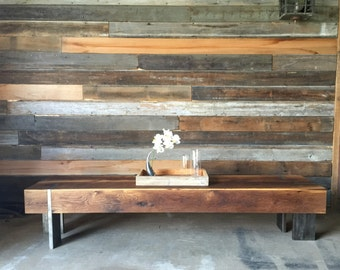 Long Modern Coffee Table / Reclaimed Wood Entryway Bench / Solid Steel Legs