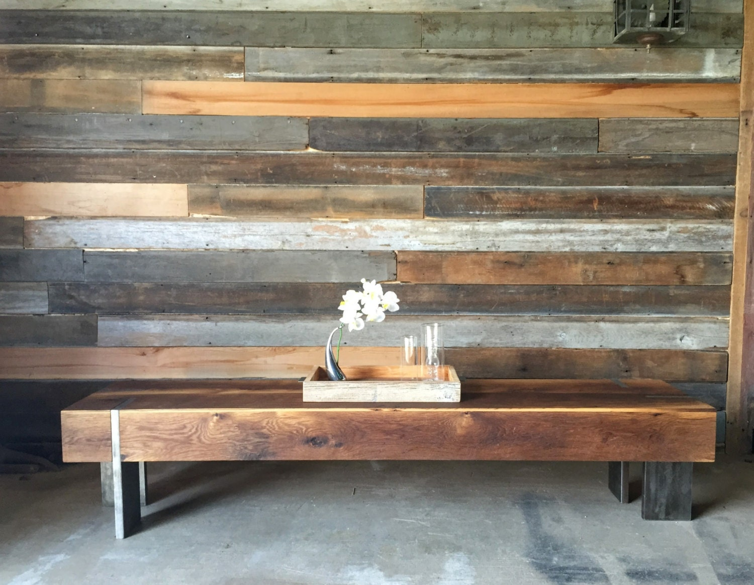 Long Modern Coffee Table Reclaimed Wood Entryway Bench