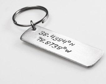 Coordinates Keychain, Latitude longitude, Personalized Key Ring, Custom Keychain, GPS Keychain, hand stamped