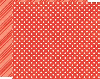 2 Sheets of Echo Park Paper DOTS & STRIPES Summer 12x12 Scrapbook Paper - Tomato (DS15012)