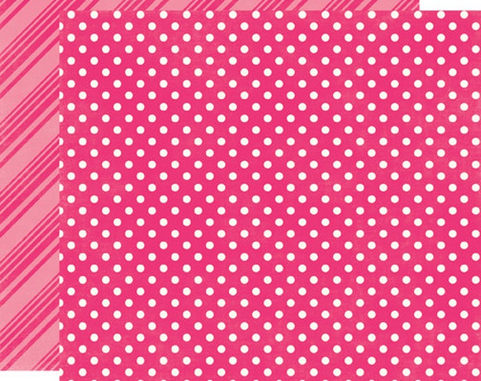 2 Sheets of Echo Park Paper DOTS & STRIPES Brights 12x12 Scrapbook Paper - Hot Pink (DS15026)
