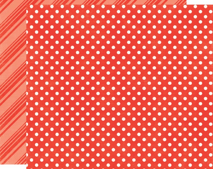 2 Sheets of Echo Park Paper DOTS & STRIPES Summer 12x12 Scrapbook Paper - Tomato (DS15012)