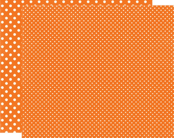 2 Sheets of Echo Park Paper DOTS & STRIPES Fall 12x12 Scrapbook Paper - Pumpkin (2 Sizes of Dots/No Stripes) DS15035