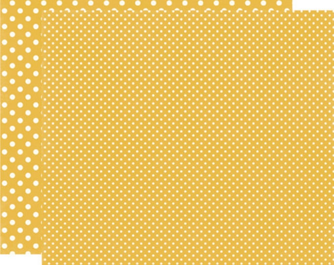 2 Sheets of Echo Park Paper DOTS & STRIPES Fall 12x12 Scrapbook Paper - Mustard (2 Sizes of Dots/No Stripes) DS15036