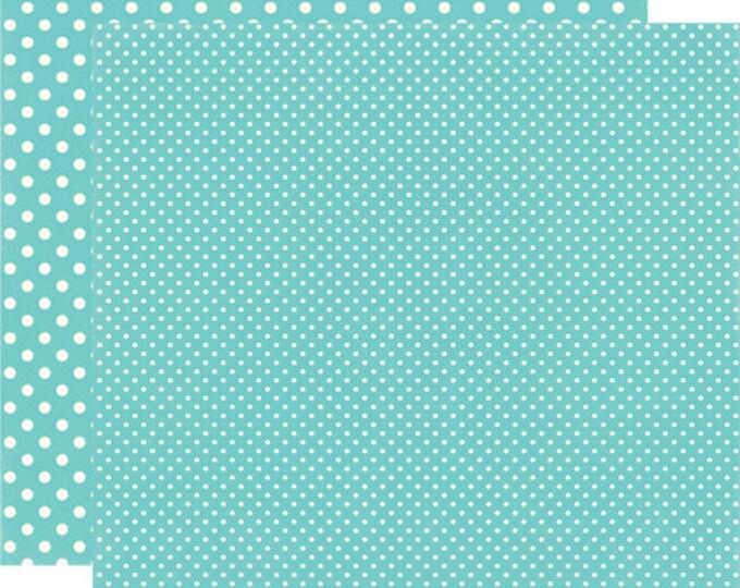 2 Sheets of Echo Park Paper DOTS & STRIPES Winter 12x12 Scrapbook Paper - Glacier (2 Sizes of Dots/No Stripes) DS15052