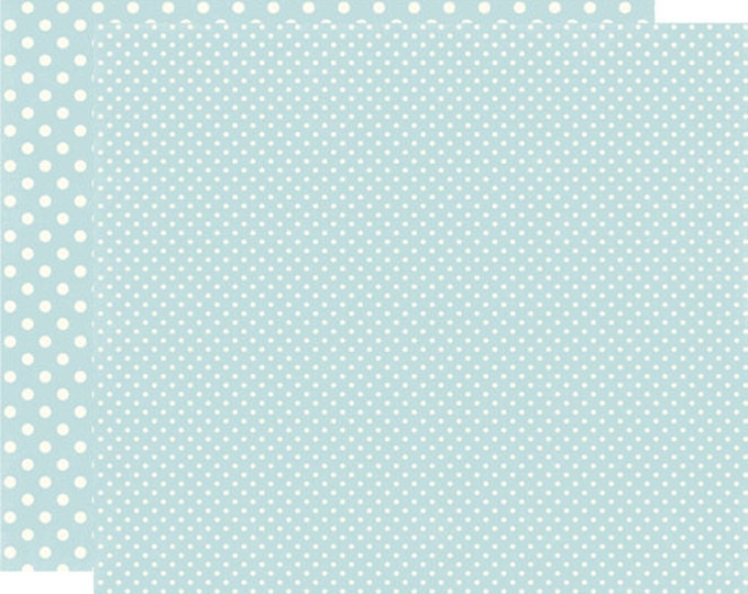 2 Sheets of Echo Park Paper DOTS & STRIPES Winter 12x12 Scrapbook Paper - Powder Blue (2 Sizes of Dots/No Stripes) DS15053