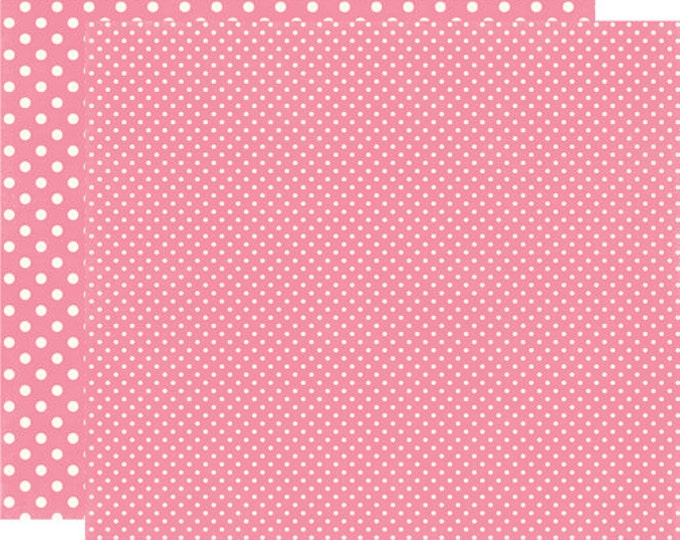 2 Sheets of Echo Park Paper DOTS & STRIPES Valentine 12x12 Scrapbook Paper - Rosebud - Rose Bud (2 Sizes of Dots/No Stripes) DS15059