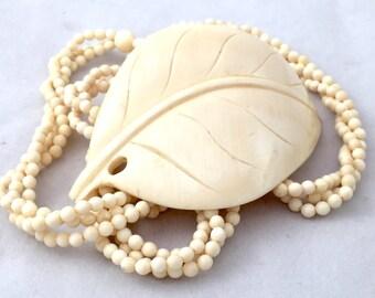 Large Hand Carved Bone Leaf Beaded Necklace, Twisted Bead Necklace, Vintage Boho Tribal Off White Bead Bone Leaf Necklace, Smooth Carved