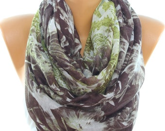 Brown Olive Green Paisley Floral Scarf Lightweight Oversize Summer Scarves Shawl Infinity Scarf Women Fashion Accessories Gift Ideas For Her