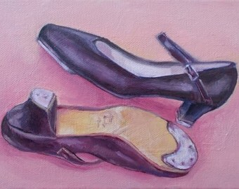 Daily Painting, Dancing Shoes, Oil Painting, Tap Shoes, Small Oil Painting, Daily Painters