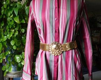 Striped Shirt  Button Down Shirt Plus Size Size 16 Vintage Clothing