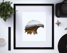Downloadable Eagle Art Print - Bald Eagle - Eagle Silhouette - Eagle Download - Eagle Printable -  Mountain Art - Mountain Print