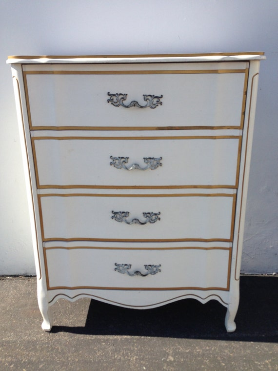French Provincial Dresser Chest Drawers White Gold Shabby Chic