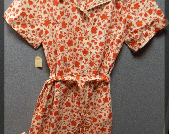 1950 Red Flowered Dress, New Old Stock, Size 22