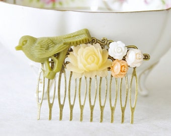 Olive Green Bird Flower Hair Clip /  Wedding Hair Piece / Cameo Hair Clip / Rose Hair Comb