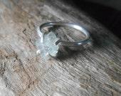 Raw aquamarine  claw set sterling silver ring, Aquamarine crystal ring, minimalist gemstone ring, March birthstone ring