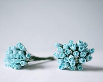 Paper flower , 50 pieces mulberry budding rose 0.8-1cm., blue-sky color.