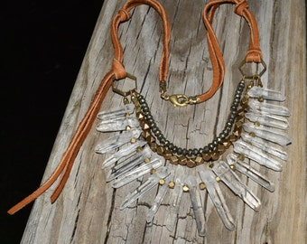 Crystal Point Brass Pyrite Beaded Bib Necklace Leather Boho Necklace Layered Jewerly