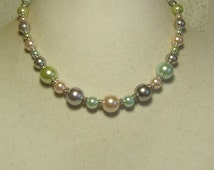 """Cynthia Lynn 'PRETTY PASTELS"""" Pastel Blue Green and Pink Glass Pearl Silver Necklace 16""""-18"""""""